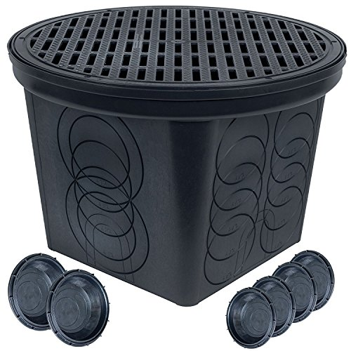 StormDrain FSD-3017-20BKIT-6 20 in. Large Round Catch Basin with Black Grate Kit