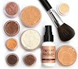 iQ Natural Mineral Makeup Starter Kit - Powder Brush, Silk Primer, Mineral Foundation, Setting Veil, Bisque Concealer, Bronzer + Eye Shadow for Flawless Bare Looking Skin, Full Set (Medium Beige)