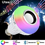 Bluetooth Light Bulb Speaker Color Changing Stereo Lights Smart Led Wireless Speakers RGB with 24 Keys Remote Control 12W E26 Bedroom Lamp Music Bulbs