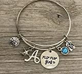 Personalized Beach Bracelet with Initial Charm, Custom Flip Flop Girl Bracelet, Summer Beach Jewelry, Gift for Beach Girls