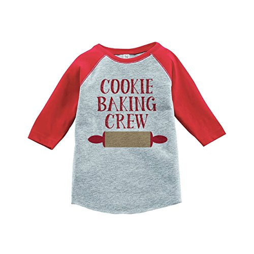 Custom Party Shop Kids Cookie Baking Crew Christmas Raglan Shirt Red 3T