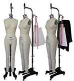 PGM Dress Form Professional Dressmaker Full Body Dress Form with Collapsible Shoulder and 100% Linen for Pattern Making Draping & Fashion Design