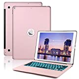 Bluetooth Folio Keyboard Case for iPad Pro 12.9 inch-2017(2nd Gen)-2015(1st Gen)-7 Color Backlit, Auto Wake/Sleep, iPad Pro 12.9 Case with Aluminium Keyboard (Not Fit 2018 Version)(Rose Gold)
