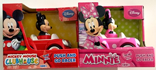 Disney Mickey Mouse and Minnie Mouse Push and Go Racer 2-Car Bundle