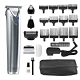 Wahl Stainless Steel Lithium Ion Plus - Beard Trimmer and Shaver for Men | Nose and Ear Hair Trimmer | Rechargeable All in One Men's Grooming Kit | By the Brand Used by Professionals | Model 9864SS