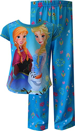 Disney Big Girls' Frozen Elsa Anna and Olaf Short Sleeve Pant Set, Blue, X-Small