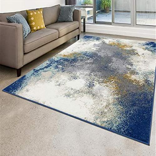 Blue Abstract Modern Area Rug