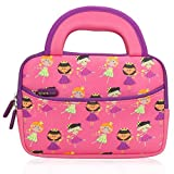 Evecase 7-8 inch Kid Tablet Sleeve, Cute Fairy Tale Princess Themed Neoprene Carrying Sleeve Case Bag for 7-8 inch Kid Tablets (Pink & Purple Trim, with Dual Handle and Accessory Pocket)