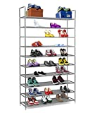 Halter 10 Tier Stackable Shoe Rack Storage Shelves - Stainless Steel Frame Holds 50 Pairs of Shoes - 39.125' X 11.125' X 69.5' - Gray