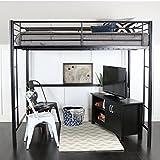 WE Furniture Full Metal Loft Bed - Black
