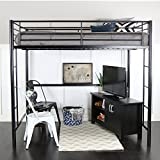 WE Furniture AZDOLBL Modern Metal Pipe Full Double Size Loft Kids Bunk Bed Bedroom Storage Guard Rail Ladder, Black