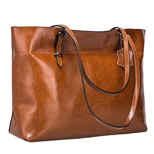 S-ZONE Women's Vintage Genuine Leather Tote Shoulder Bag Handbag Upgraded Version (Dark Brown)