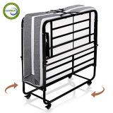 Smile Back Folding Bed Rollaway Bed with Mattress for Adults Fold Foldable Guest Beds Portable Beds Twin Size, 5 Inch Memory Foam Mattress, No Tools Required, Easy To Assemble