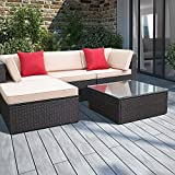 Devoko 5 Pieces Patio Furniture Sets All-Weather Outdoor Sectional Sofa Manual Weaving Wicker Rattan Patio Conversation Set with Cushion and Glass Table (Red Pillow)