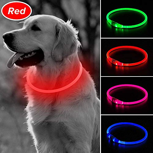 BSEEN LED Dog Collar, USB Rechargeable Glowing Pet Collar, TPU Cuttable Dog Necklace Safety Light for Small Medium Large Dogs (Red)
