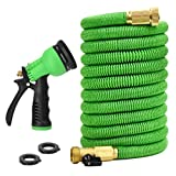 GlaykoTm 50 Feet Expandable Garden Hose - NEW 2017 Super Strong Construction- Strong Webbing -Solid Brass End + 8 Function Spray Nozzle and Shut-off Valve, Green