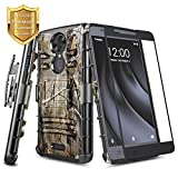 REVVL Plus Case (T-Mobile), NageBee Built-in Kickstand Full-Body Shockproof Armor Belt Clip Holster Heavy Duty Rugged Durable Protective Case w/[Full Coverage Tempered Glass Screen Protector] -Camo