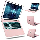 Keyboard Case iPad Pro 12.9 2017(2nd Gen)/2015(1st Gen) - Boriyuan Protective Ultra Slim Aluminum Hard Shell Smart Cover with 7 Colors Backlit Wireless Bluetooth Keyboard-Rose Gold