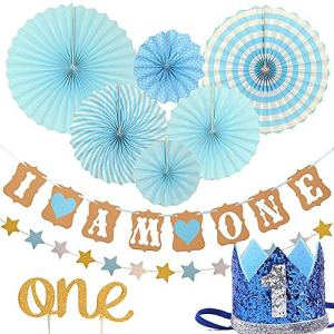 Queta Baby First Birthday Decorations Set,1 Year Tiara Crown Hat,Cake Topper, Circle Dots Paper Garland,Banner, More Decor Supplies,Boy blue/Princess Pink Theme Kit 51426yh0gcL