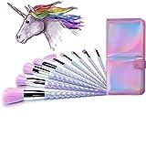 Ammiy Unicorn Makeup Brushes Set Colorful Bristles Unicorn Horn Handles Fantasy Makeup Tools Foundation Eyeshadow Unicorn Brushes Kit With a Cute Iridescent Carrying Case (10Pcs)