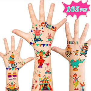 105pcs Temporary Tattoos for Kids, Circus Carnival Party Supplies Favors, Carnival Circus Games Prizes Toys Birthday Decorations Gift Accessories for Children Girls Boys 5143R1mIkpL