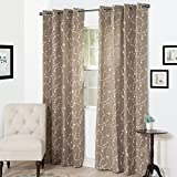 Semi Sheer Grommet Style Curtains - Floral Embroidered Pattern Window Curtain Panel for Living Room Bedroom, 84 x 54 Inch by Lavish Home (Taupe)