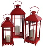 Melrose International Metal and Glass Lantern, Red, Set of 3
