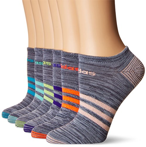adidas Women's Superlite 6-Pack No Show Socks, Onix Clear Onix Space/Easy Green/Energy Ink Blue/Lucid Red/Frozen Yellow/Energy Blue/Haze Coral,Women's Sock size (5-10)