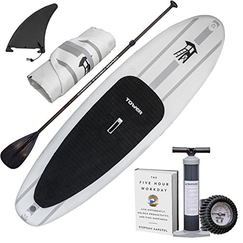 """Tower Inflatable 9'10"""" Stand Up Paddle Board - (6 Inches Thick) - Universal SUP Wide Stance - Premium SUP Bundle (Pump & Adjustable Paddle Included) - Non-Slip Deck - Youth and Adult - Adventurer 1"""