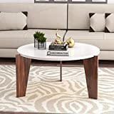 DecorNation Aurora Wooden Coffee Table   Cocktail Table   Center Table for Living Room, Bedroom   White Finish