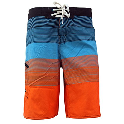 MADHERO Mens Quick-dry Polyester Contrast Color Lightweight Boardshorts (S-2XL) Size M Color Orange and Blue