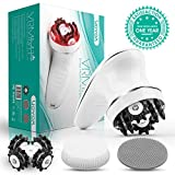 VOYOR Handheld Massager Cordless Deep Tissue Cellulite Massager for Face, Arm, Hand, Neck, Foot and Body, Silicone Face Brush, 3 Multi-functional Heads, IPX7 Waterproof & Rechargable VRMM1-NEW