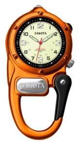 Dakota Clip Watch With LED Flashlight, Mini Clip Microlight Watch, Orange