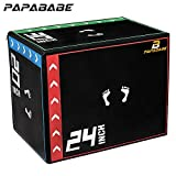 PAPABABE 3 in 1 20'' x 24'' x 30' Foam Plyometric Box Jumping Exercise