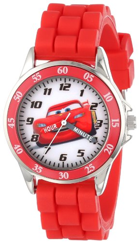 Cars Kids' Analog Watch with Silver-Tone Casing, Red Bezel, Red Strap – Official Cars Lightning McQueen Character on The Dial, Time-Teacher Watch, Safe for Children – Model: CZ1009