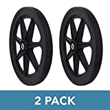Marathon Industries 92008 Flat Free 2 Pack Marathon 20' Spoked Tire Assembly Replacement for Rubbermaid, Black
