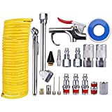 WYNNsky Air Compressor Accessory Kit, 1/4' NPT Air Tool Kit with 1/4' x 25Ft Coil Nylon Hose/Blow Gun/Tire Gauge - 20 Pieces