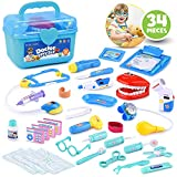Educational Doctor Medical Pretend Play Toy Set in Storage Box 34 Pcs – Battery Operated Tools with Lights & Sounds – Promote Learning, Hand to Eye Coordination, Fine Motor Skills