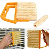 AKOAK Microfibre Blind Blade Cleaner Window Conditioner Duster Clean Brush With 7 Slat Handheld Household Kitchen Cleaning Tools for Awnings,Siding,Vinyl,Car,Fan