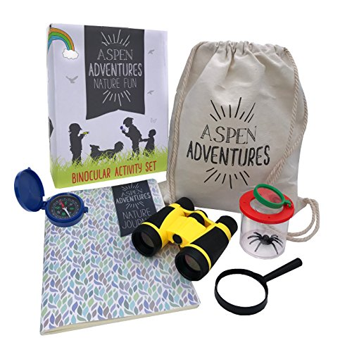 Kids Outdoor Nature Explorer Kit — Homeschool Toys & STEM Learning Resource + BONUS Nature Activities e-Guide Printable — Binoculars, Compass, Bug Magnification House, Magnifying Glass, Bag
