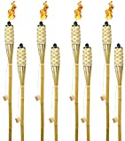 Matney Bamboo Torches - Includes Metal Oil Canisters with Covers to Extinguish Flame - Great for Outdoor Decorating, Luau, Parties, Extra Long 60 Inches (8 Pack)
