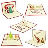 Salsell 3D Christmas Cards Pop Up Greeting Holiday Cards Gifts for Christmas, New Year, Festival, Birthday, Thank you, Anniversary