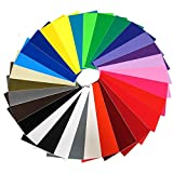 Vinyl Ease 6' x 12' 30 Sheets Assorted Colors Gloss Permanent Adhesive Vinyl for Cricut, Silhouette, Pazzles, Craft ROBO, QuicKutz, Craft Cutters, Die Cutters, Sign Plotters - V0001