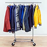 Tatkraft Darren Heavy Duty Adjustable Clothes Rack 100Kg / 220Lb Clothes Rack on Wheels, Easy to Set Up, Chromed Steel
