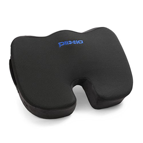 Plixio Memory Foam Seat Cushion - Chair Pillow for Sciatica, Coccyx, Back & Tailbone Pain Relief - Orthopedic Chair Pad for Support in Office Desk Chair, Car, Wheelchair & Airplane