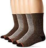 Weatherproof Men's 5 Pack Full Terry Thermal Crew Socks, Medium Brown, 10-13/6-12