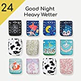24 Kawaii Baby Goodnight Heavy Wetter OS Cloth Diapers + 48 Large Inserts|Best Overnight Diaper| Reuseable Diapers| Diaper Inserts| for boy and Girl | Easy use and Very Soft | Machine Washable