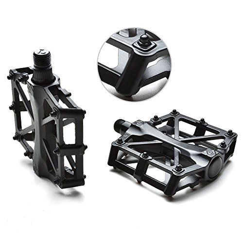 "Agptek Mountain Bike Pedals Bicycle Pedals 9/16"" MTB BMX Bearing Alloy Platform Pedals for Mountain Cycling Road Bicycles (Black)"