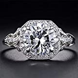 Aimys Vintage 2.6CT White Topaz 925 Silver Cubic Zirconia CZ Bridal & Engagement Ring Sizes 5 to 10 (9)