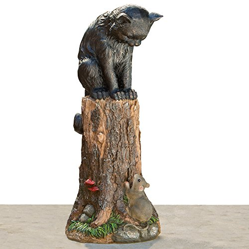 Bits-and-Pieces-Cat-Mouse-Garden-Statue-Outdoor-Kitten-on-a-Stump-Sculpture-17-Polyresin-Home-Dcor-Weather-Resistant-Lawn-Ornament